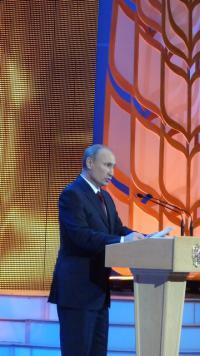 V.V. Putyin orosz elnök a Kremlben tartott ünnepségen beszél